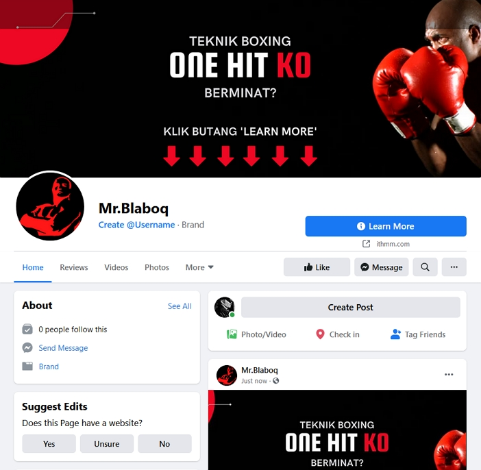 contoh kombinasi facebook page banner dengan butang facebook