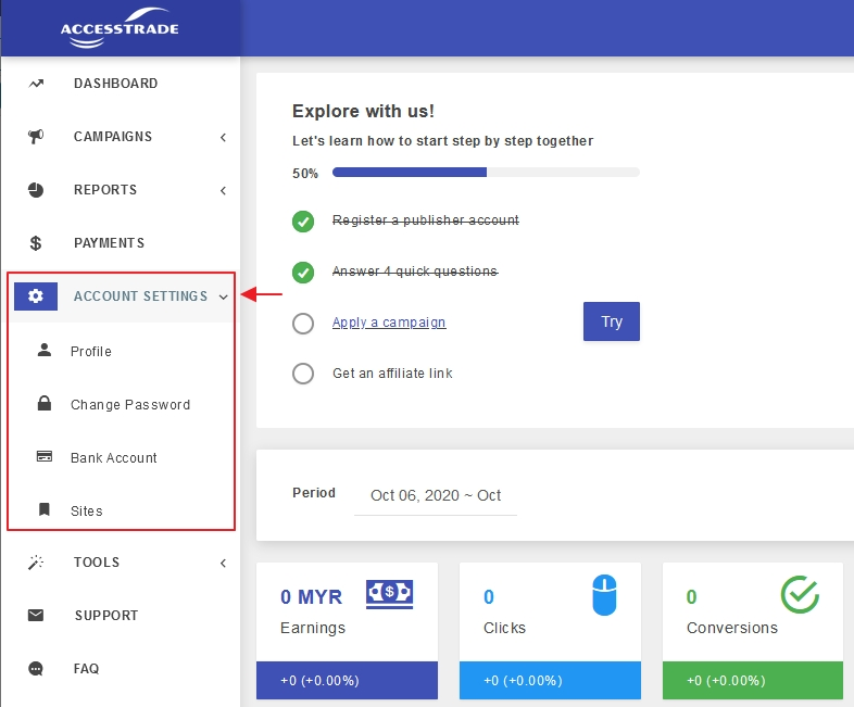 menu account setting dashboard accesstrade