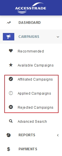 menu status permohonan campaign accesstrade