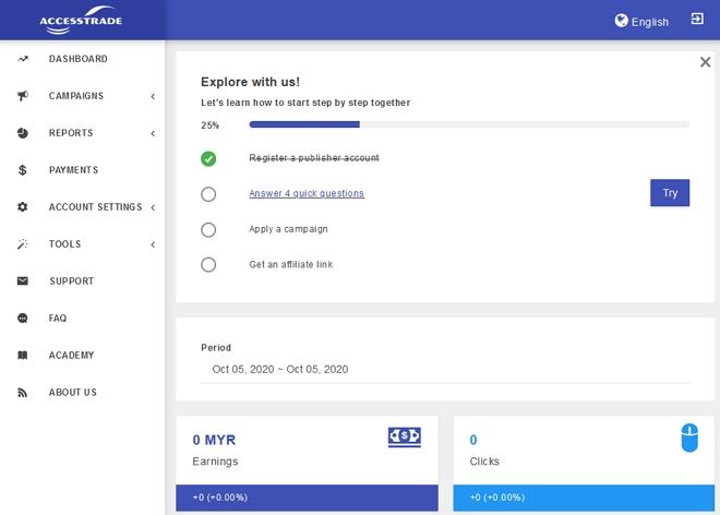 Paparan publisher dashboard program affiliate accesstrade