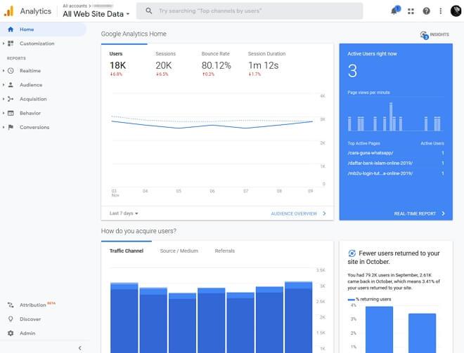 paparan home dalam google analytics