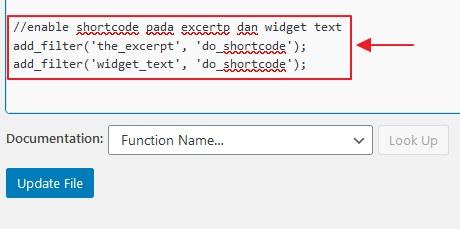 kod membolehkan shortcode dalam excertp dan text widget