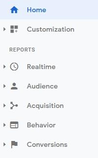 menu report google anlaytics