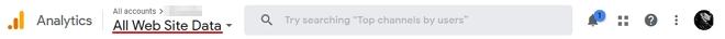 menu top google analytics