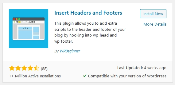 plugin insert head and footer untuk letak tag google analytics