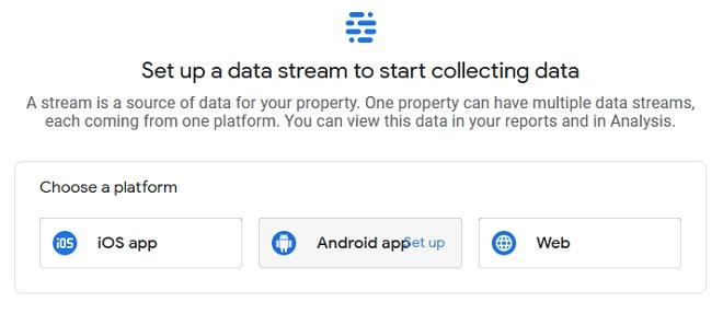 setup data stream untuk google analytics
