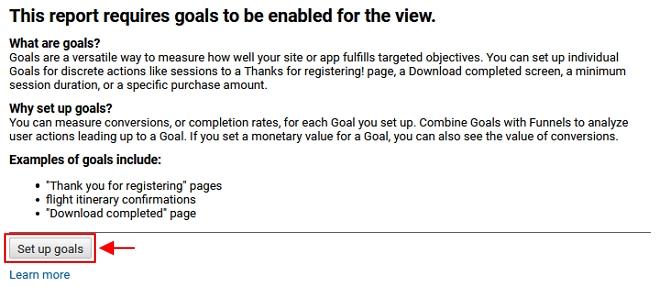 setup up goal google analytics