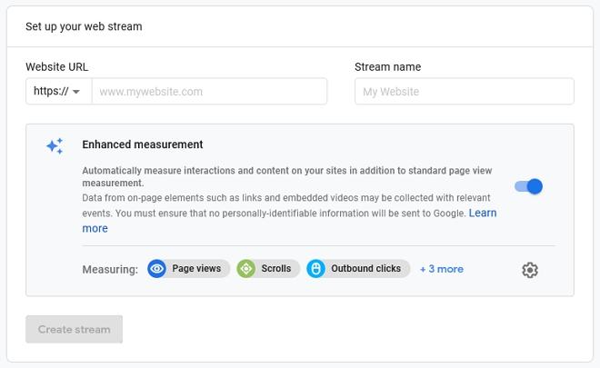 setup untuk web stream google analytics