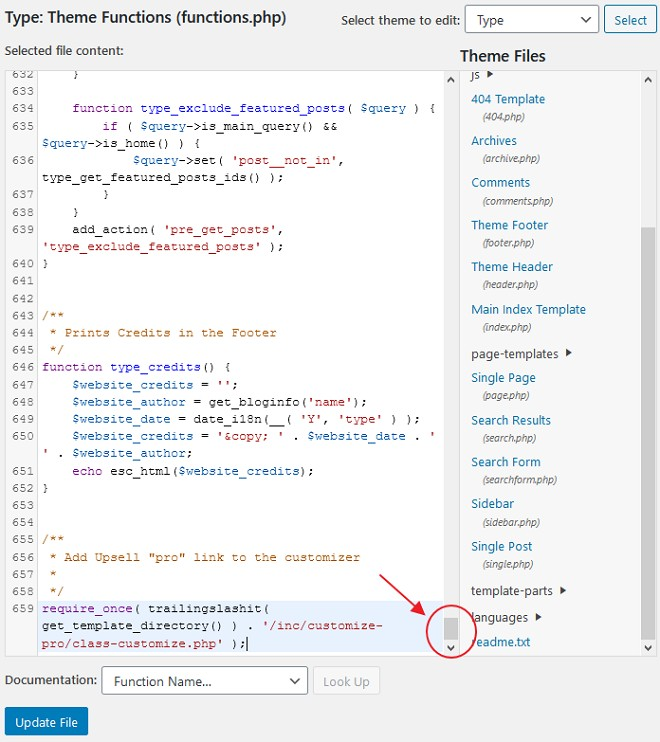 bahagian akhir file function php