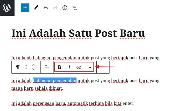 buat bold italic underline link