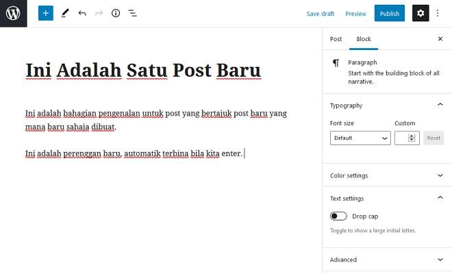 contoh buat post baru dalam wordpress