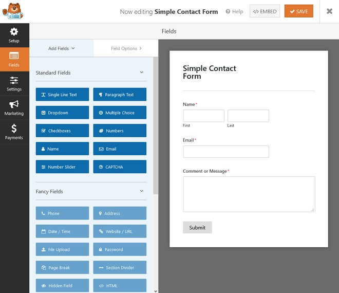 edit simple contact form