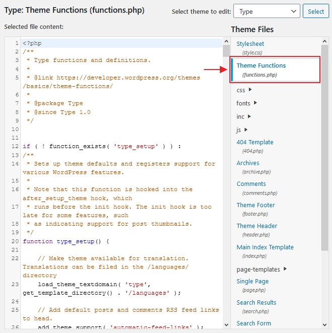 file theme function php