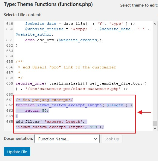 function ubah panjang excerpt