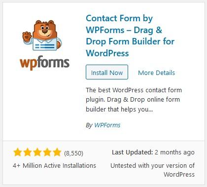 install plugin wpforms