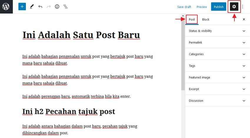 klik simbol gear dan post
