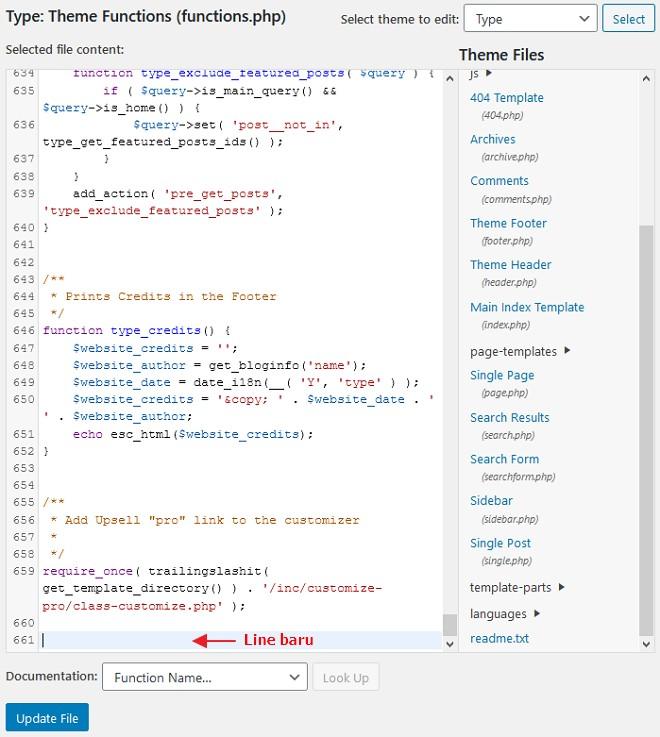 line baru function php