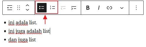 list bullet atau nombor