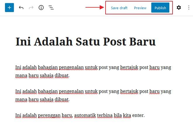 save draf dan publish post