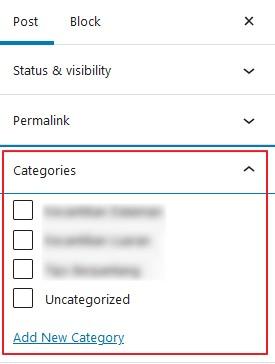 setting post kategori