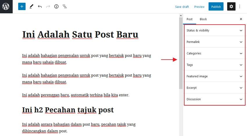 setting post wordpress
