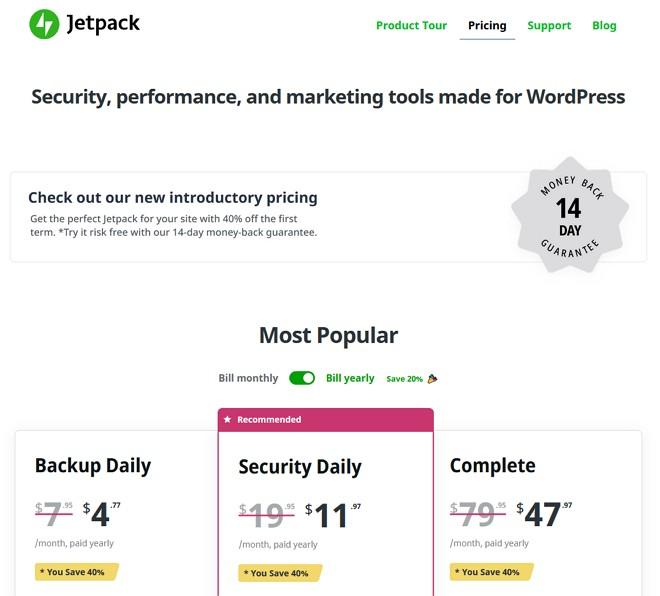 paparan pricing pakej jetpack