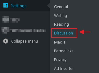 setting discussion wordpress