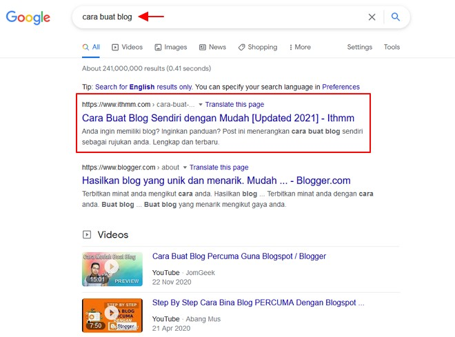 SEO membolehkan post muncul dalam search engine result