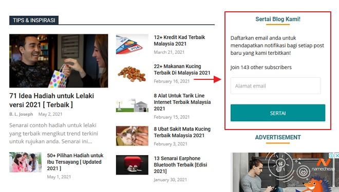 contoh paparan widget subscriptions di bahagian sidebar
