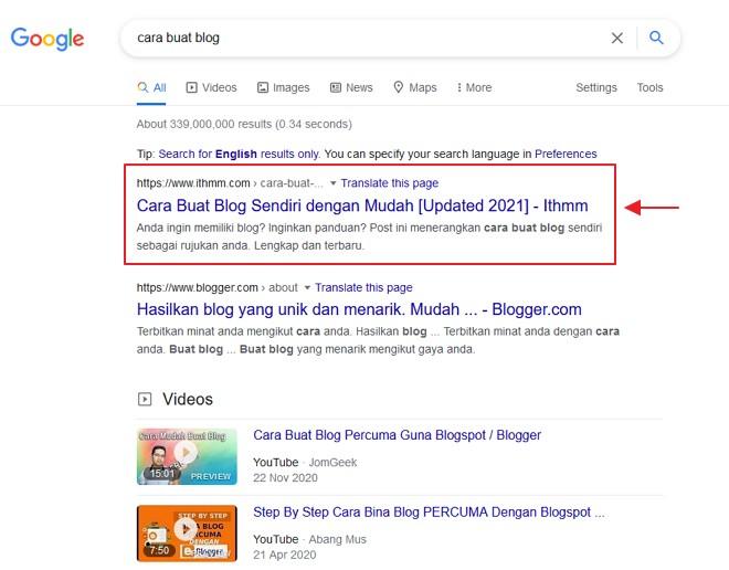 hasil on page seo dalam search engine