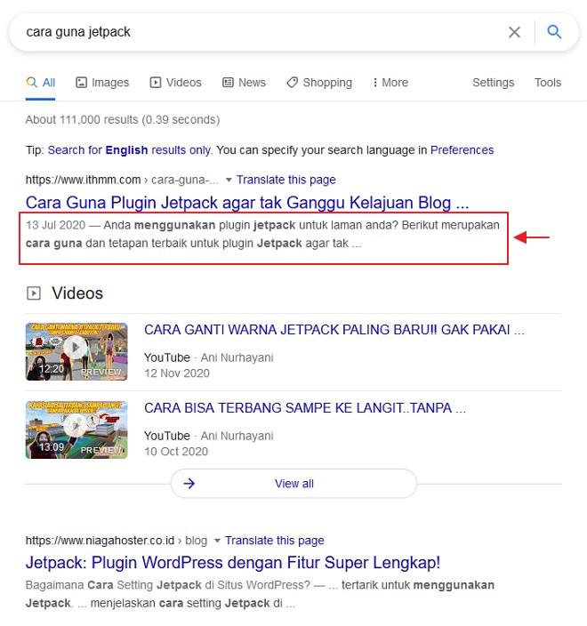 meta description di google