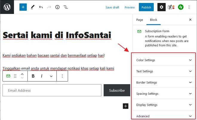 pilihan untuk ubahsuai borang subscription