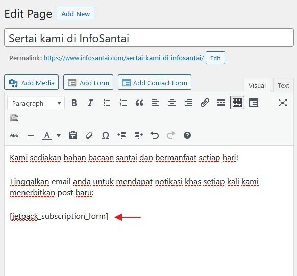 shortcodes borang subscription dalam page