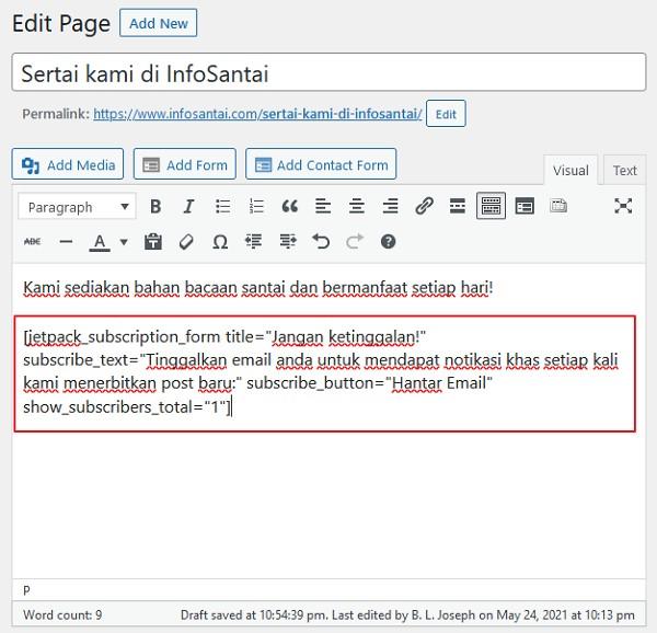 shortcodes penuh borang subscription dalam ruangan editor