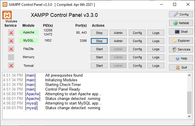 Module Apache dan MySQL warna hijau