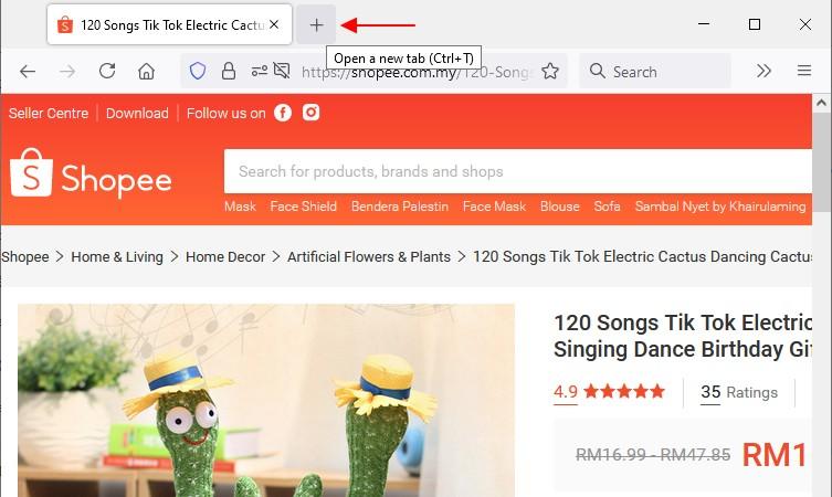 buka tab browser baru