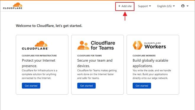 butang add site pada cloudflare