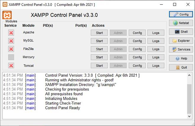control panel xampp
