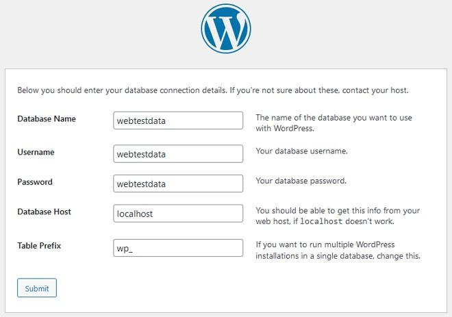 masukkan maklumat database untuk setup wordpress