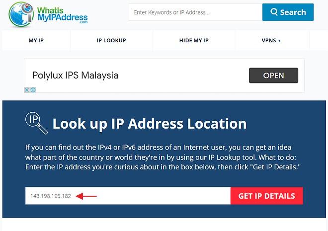 Dapatkan lokasi ip address