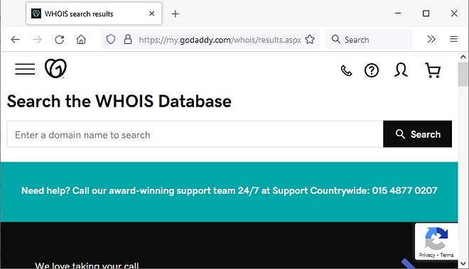 godaddy whois database search