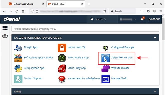 lokasi select php version untuk pengguna namecheap