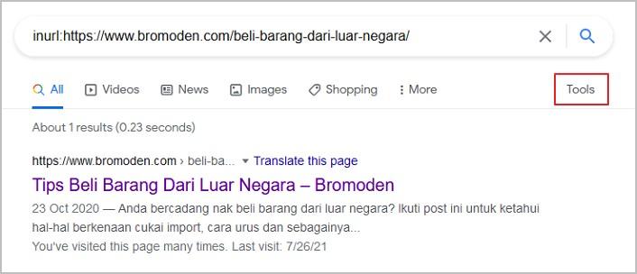 menu tools google