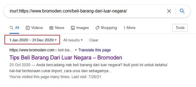 periksa keputusan search engine untuk jangka tarikh tertentu
