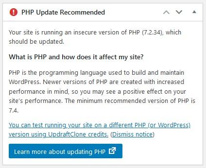 paparan notifikasi php update diperlukan.