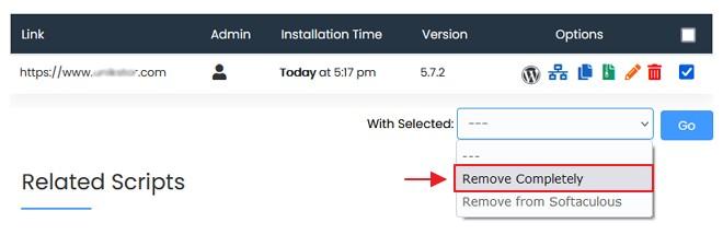 pilih completely remove - cara uninstall wordpress di cpanel