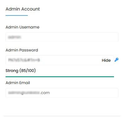 setting admin account