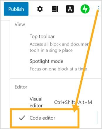 tukar block editor kepada code editor